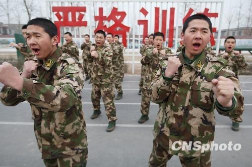 闻网 河南焦作武警新兵日常训练严格有序