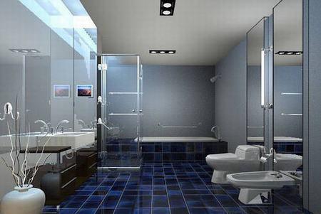 卫生间隔断装修效果图 家庭浴室隔墙设计