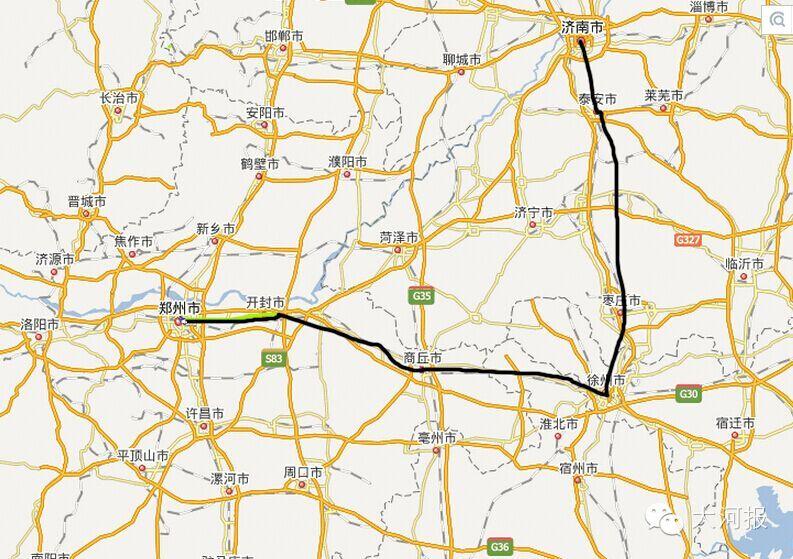 开封到青岛高铁地图
