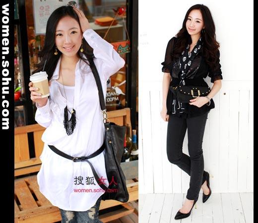 优雅而别致的裙式衬衫最in的搭法就是配上一条摩登的皮带了,高清图片